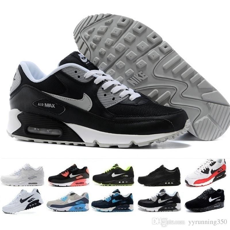 more photos 93ab8 2090f Compre Nike Air Max 90 Airmax 2018 Hombres Baratos Zapatillas Zapatos  Classic 90 Mujeres Zapatos Casuales Venta Al Por Mayor Envío De La Gota  Sports Trainer ...