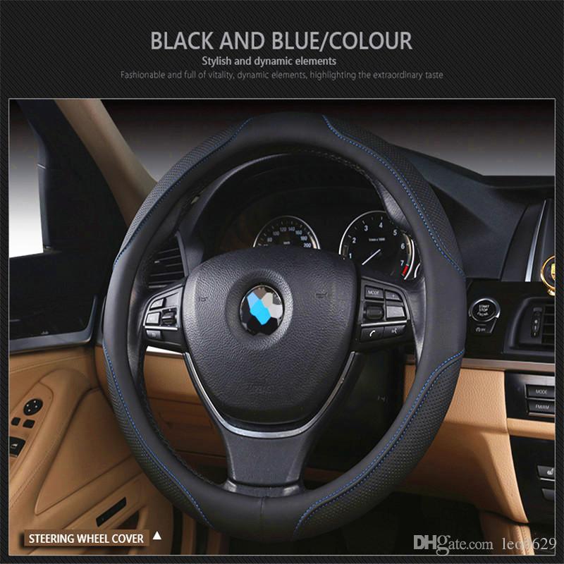 Leather Steering Wheel Cover for BMW e46 e60 e30 e34 e90 X3 e83 f20  Steering Wheel Cover Car Accessories Cubre Volante Coche