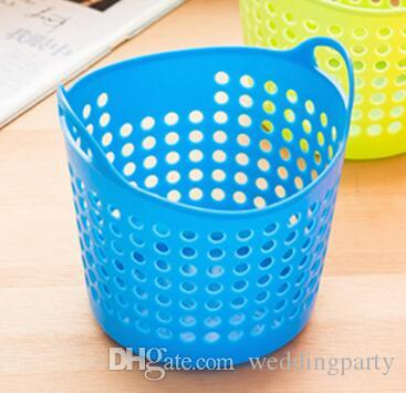 Mesh Portable Mini Sundries Storage Basket Plastic Desk Pen Container Cosmetics Storage Box Eco Friendly