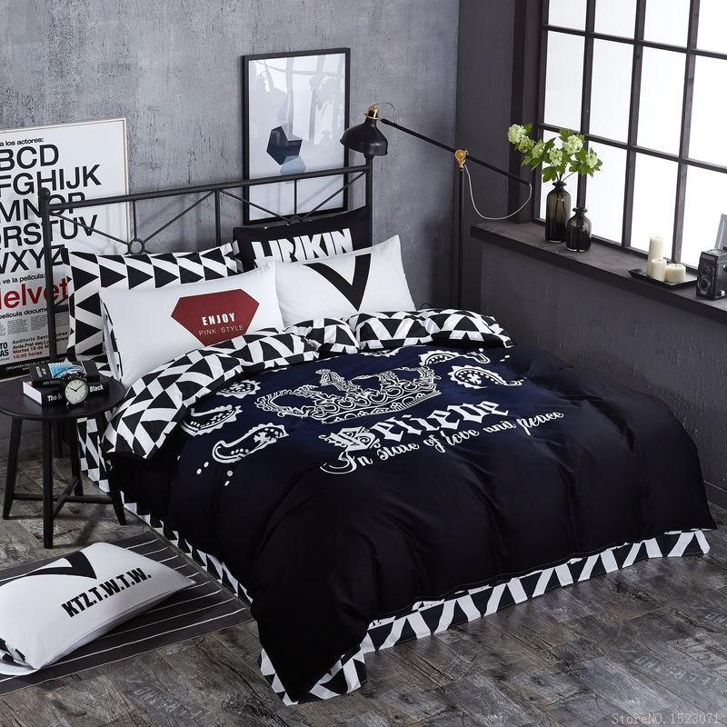 TUTUBIRD black and white Crown bedding sets 100% coon fashion brand duvet  covers striped plaid bedspreads bed sheets