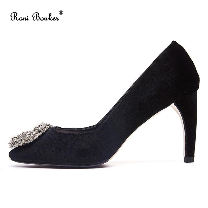 2ac7507ec0f 2018 New Fashion High Heels Flock Women Pumps Round Toe Thin Heel ...