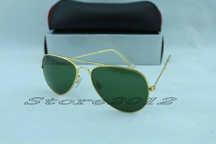 Alta calidad Classic Pilot Sunglasses Designer Brand Mens Womens Sun Glasses Eyewear Gold Metal Green 58mm 62mm lentes de cristal envío gratis