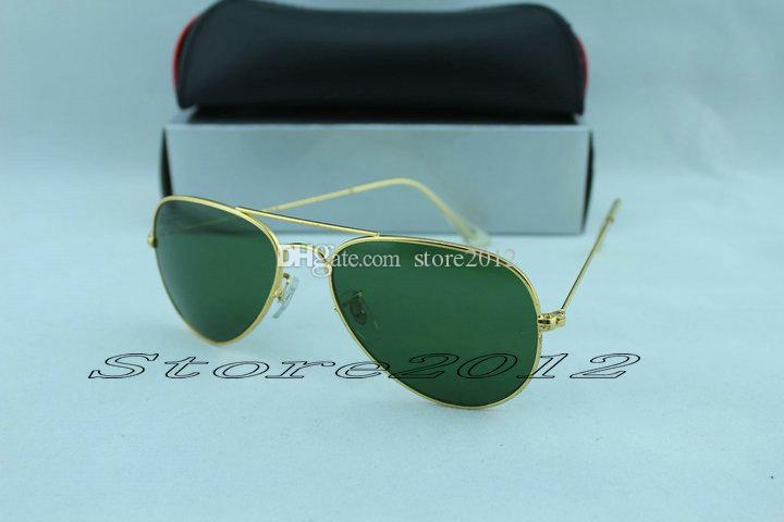 Hot sell Designer Classic Pilot Sunglasses Mens Large Metal Sun Glasses Eyewear Silver Black 58mm and 62mm Glass Lenses With Box