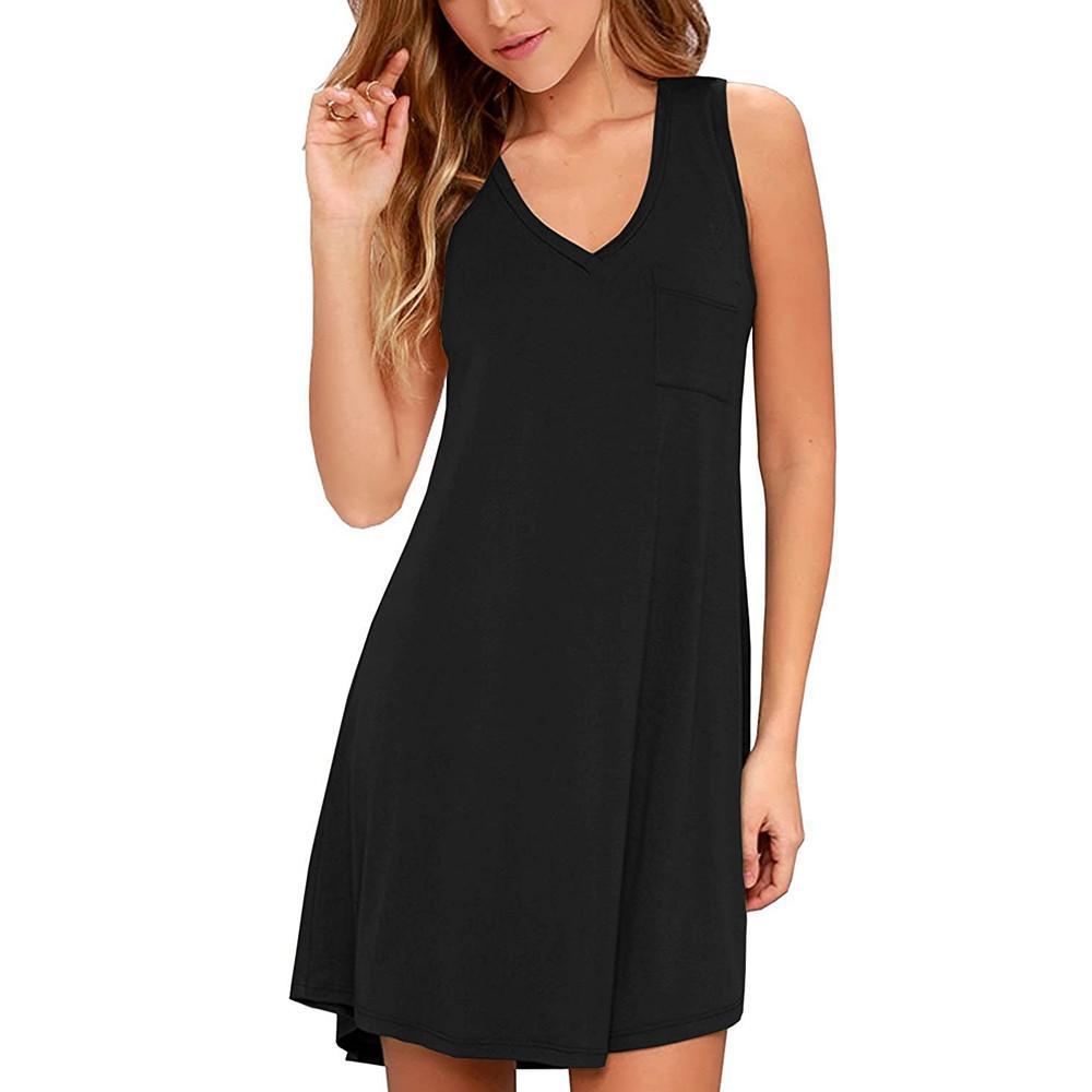 89f0fc12a5b V Neck Simple Dress Summer Solid Sleeveless Party Dress Ladies Elegant Mini  Sundress Sexy Short Summer Dresses Strand Jurkjes Black Tie Dresses  Celebrity ...