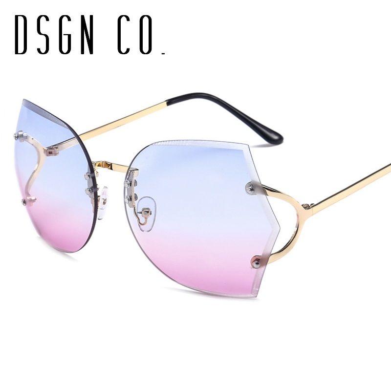 21531e8e4a996 2018 Luxury Elegant Sunglasses For Women Rimless Fashion Brand Designer Sun  Glasses UV400 Running Sunglasses Sunglasses Case From Dsgn