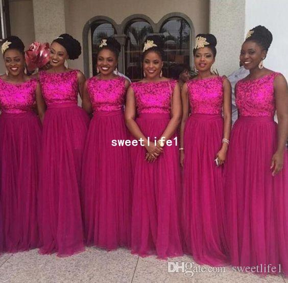 2019 Fuchsia Lace Appliques Bridesmaid Dresses A Line Tulle Floor Length Maid Of Honor Wedding Guest Gown Formal Evening Dresses Custom Made