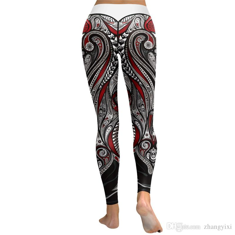 Wholesale 3D Printed Fitness Push Up Workout Leggings Roses Skulls Punk Style Sexy Pants Halloween Women Yoga Leggins