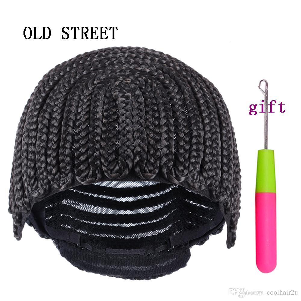 1 adet Cornrow Peruk Kap Peruk Yapımı Için Ayarlanabilir Siyah Renk Tığ Örgülü Dokuma Kap Dantel Elasti Hairnet Saç Şekillendirici Aracı