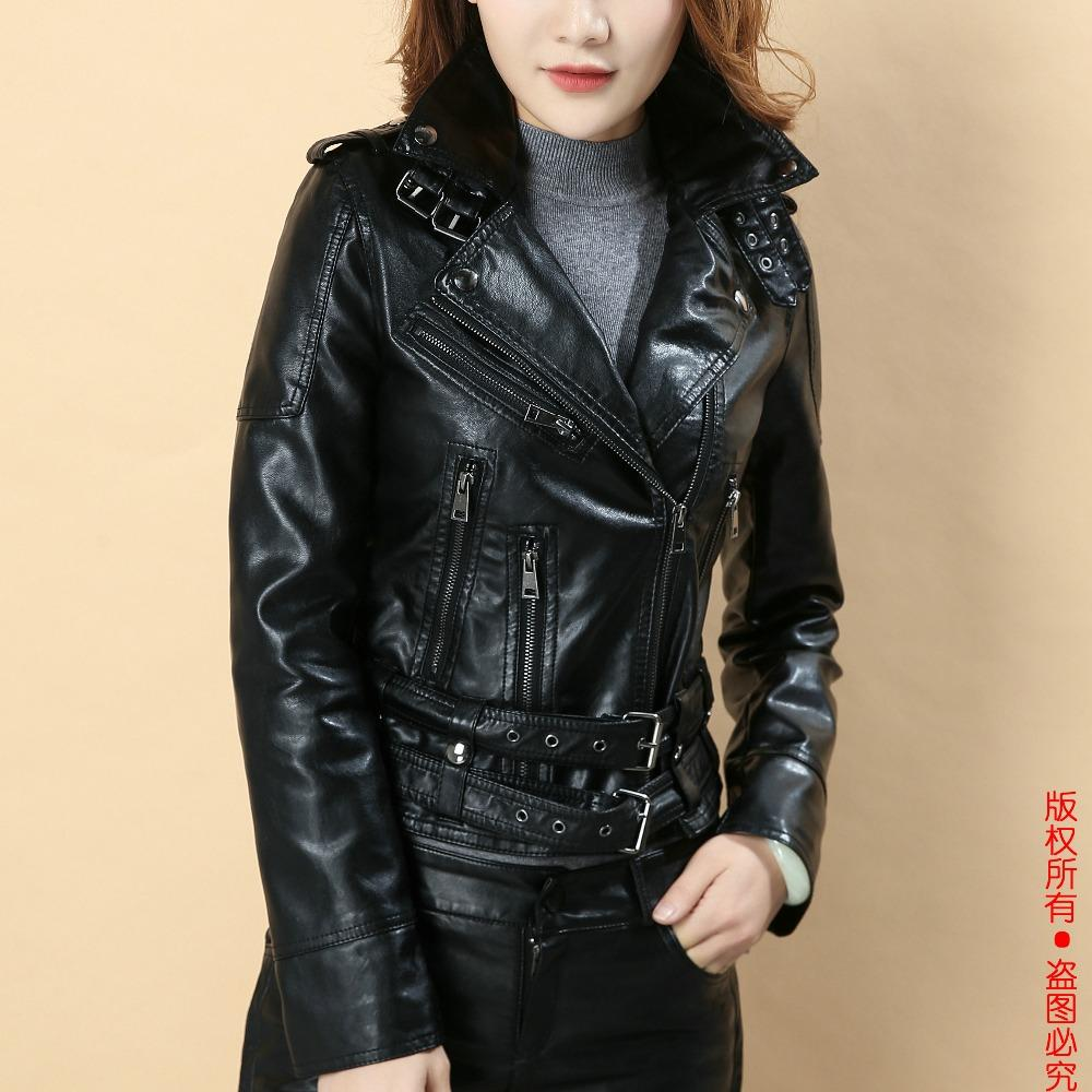 fb6d57b7d0 2019 Women Faux Leather Jacket Black Biker Jackets Aviator Coat New 2018  Short Motorcycle Coats Female S XL Jaqueta Couro Drop Ship From  Lin and zhang