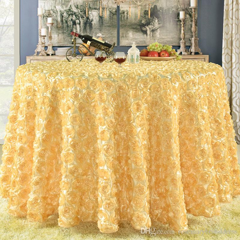 Gold 3D Rose Flowers Tablechoth Square Fashion Chair cover Fabric Custom size wedding Decorations Modern Table Cover