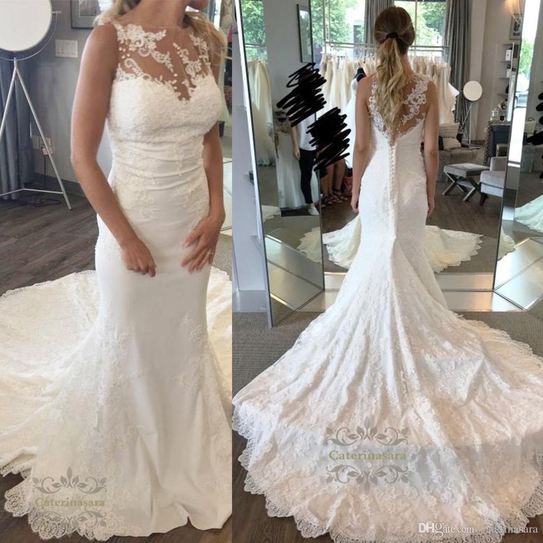 A Gorgeous Mermaid Style Wedding Dress With Enchanting Floral Lace ...