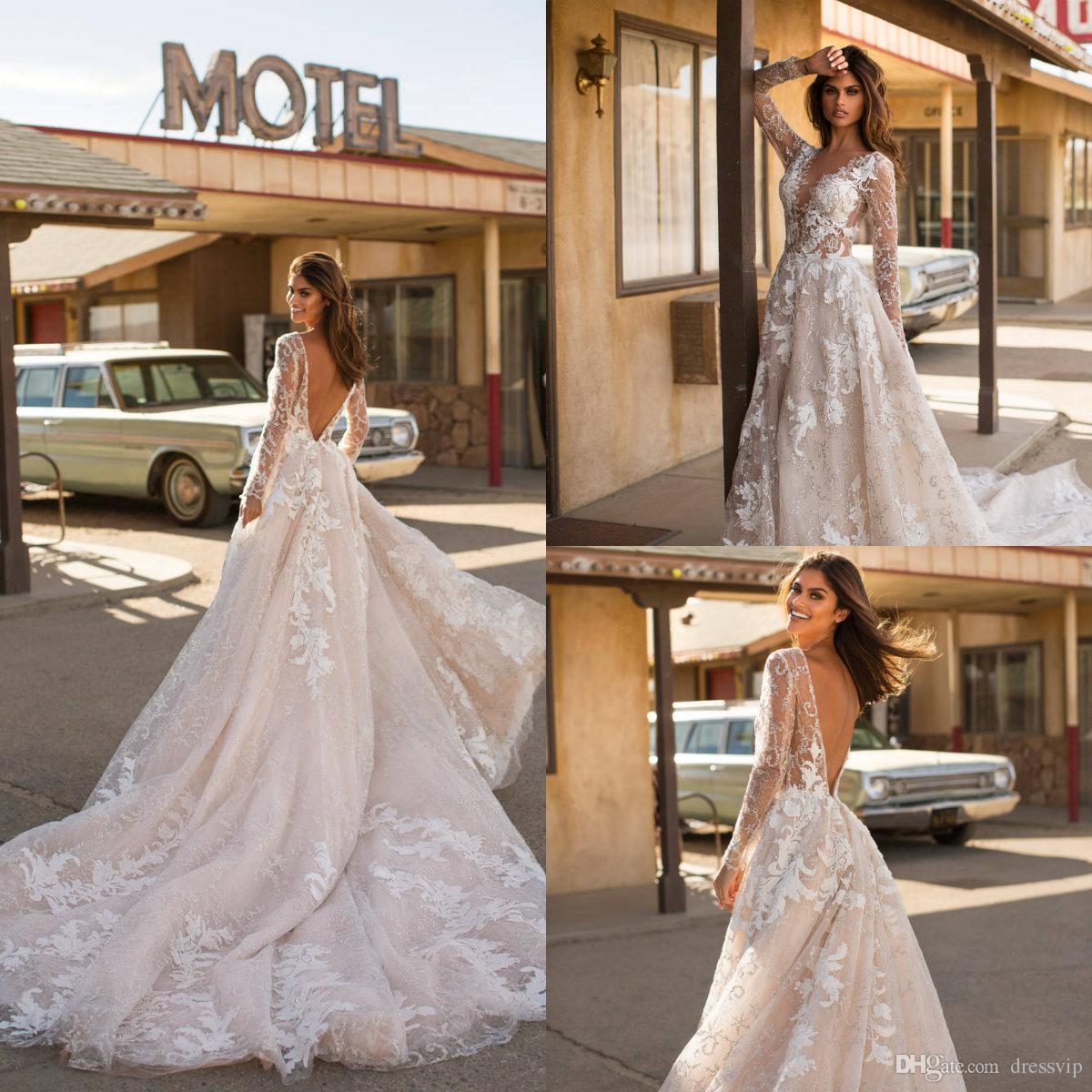 Discount 2019 Milla Nova Champagne Wedding Dresses V Neck