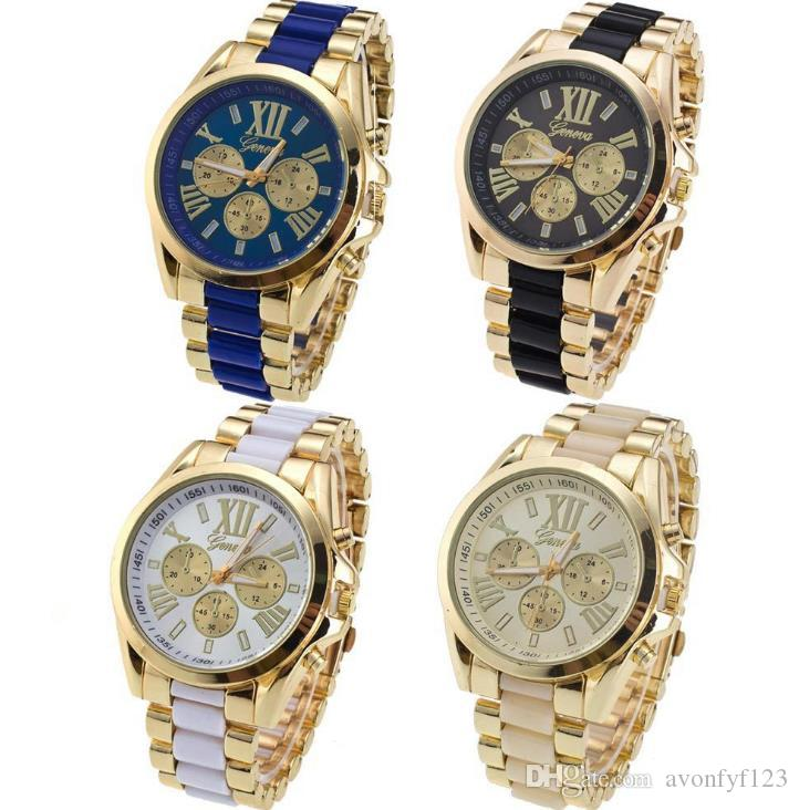 gold men lady geneva metal steel alloy watch fashion luxury ladies dress quartz diamond Analog gift mens watches A615