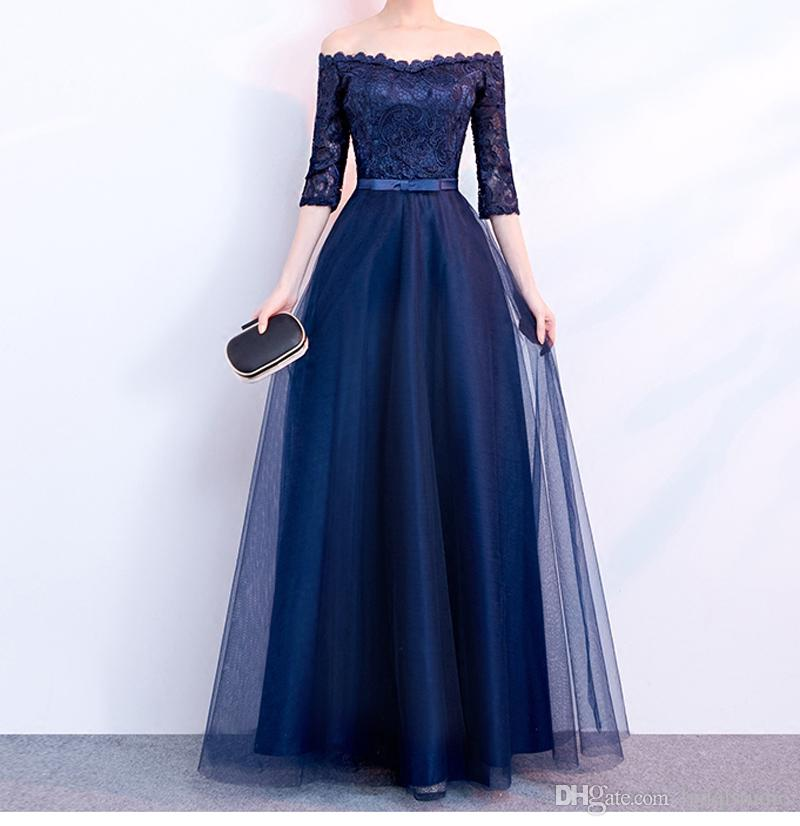 Elegant Navy Blue Evening Dress Strapless Half Sleeves Pleats Tulle Lace  Top Prom Dresses Lace Up Zipper Back Plus Size Evening Dresses Fashion  Dresses ... 9d69ef88fc4a