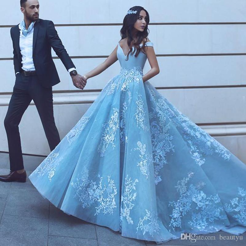 Elegant Off Shoulder Prom Dresses 2018 Arabic New Modest Lace Baby Blue  Appliques A Line Long Formal Evening Gowns Special Occasion Dress Chinese  Prom ... e79c754e750c