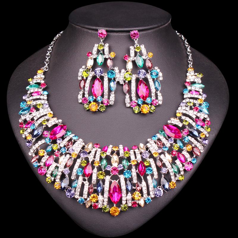4a765968701 2019 Gorgeous Crystal Bridal Jewelry Sets Wedding Party Costume Jewellery  Set Indian Necklace Earrings Sets For Brides Women From Poety