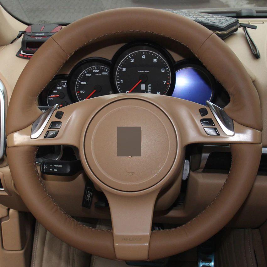 0de73ca16 Compre Couro Marrom Escuro DIY Mão Costurado Cobertura De Volante De Carro  Para Porsche Cayenne Panamera 2010 2011 De Chen331255