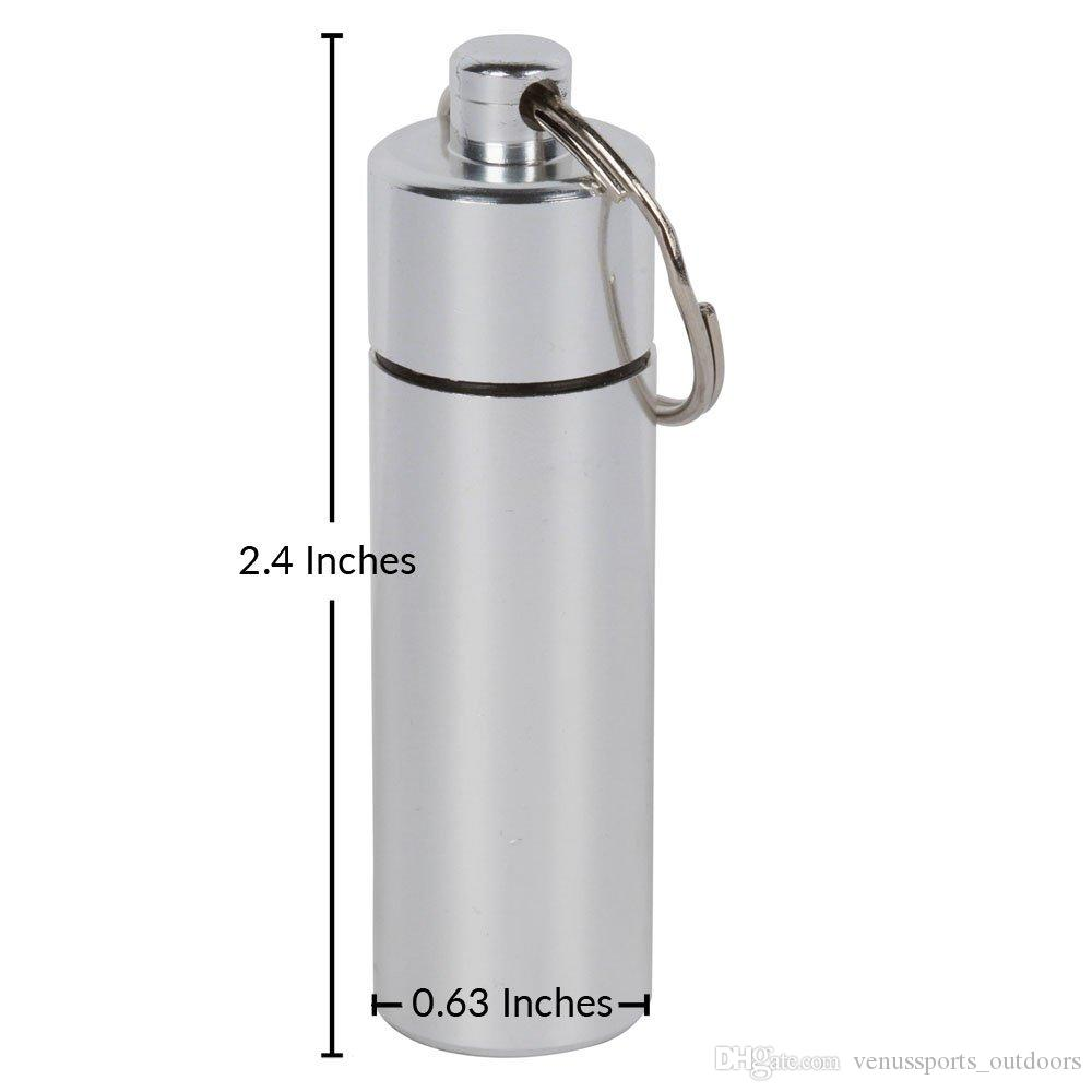Outdoor Gadgets WaterProof Box 60*17mm Mini Aluminum Waterproof micro Pills Box Case Bottle Holder Container Keychain Keyring