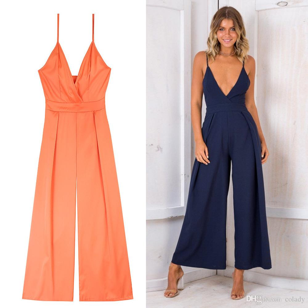 ddc60349481 2018 Sexy V Neck Backless Jumpsuit Lace Up Halter High Waist Short Overalls  Split Wide Leg Summer Jumpsuit Floral Dress Women Casual Purple Dresses For  ...