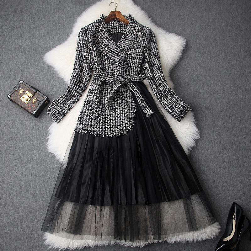 online store 1fc81 2d223 Abito da donna elegante vestito di lana Abito da uomo di alta qualità  Vestito di tweed superiore trasparente decorato con strass