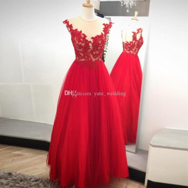 Gorgeous Red Tulle Prom Dresses Sheer Neck Cap Sleeves Appliques ...