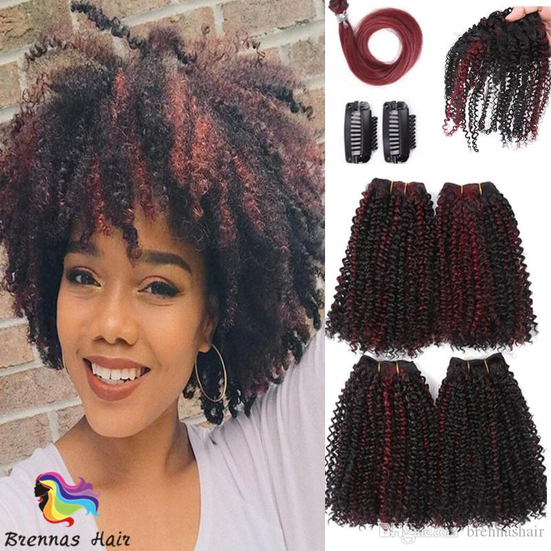 480872b004659 2019 High Quality Afro Jerry Curly  Pack Afro Jerry Curly Hair Extenison  Mini Curl 4 Hair Bundles Plus 4 Accessories For Black Woman From  Brennashair