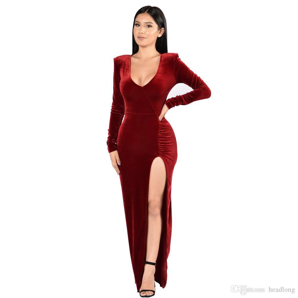 2b7a99fd9e Velluto da donna con scollo a V, vestito da night club, vestidos, moda,  sexy, inverno, autunno, rosso, abiti, clubwear, solido, festa, vestire,  femme, ...