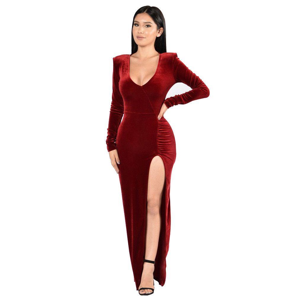 2019 Women Velvet V Neck Night Club Dress Vestidos Fashion Sexy Winter  Autumn Red Dresses Clubwear Solid Party Dress Femme Robe From Headlong ff4c8cda28db