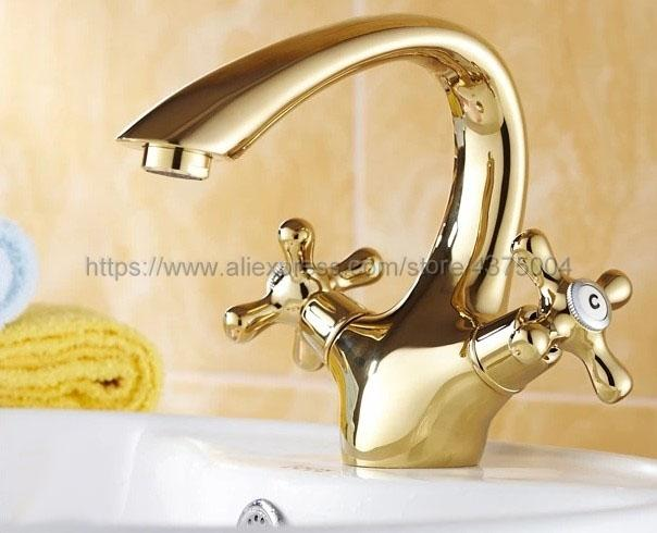 Vasca Da Bagno Vanity Prezzo : Acquista luxury gold color brass doppio cross handle bagno lavandino