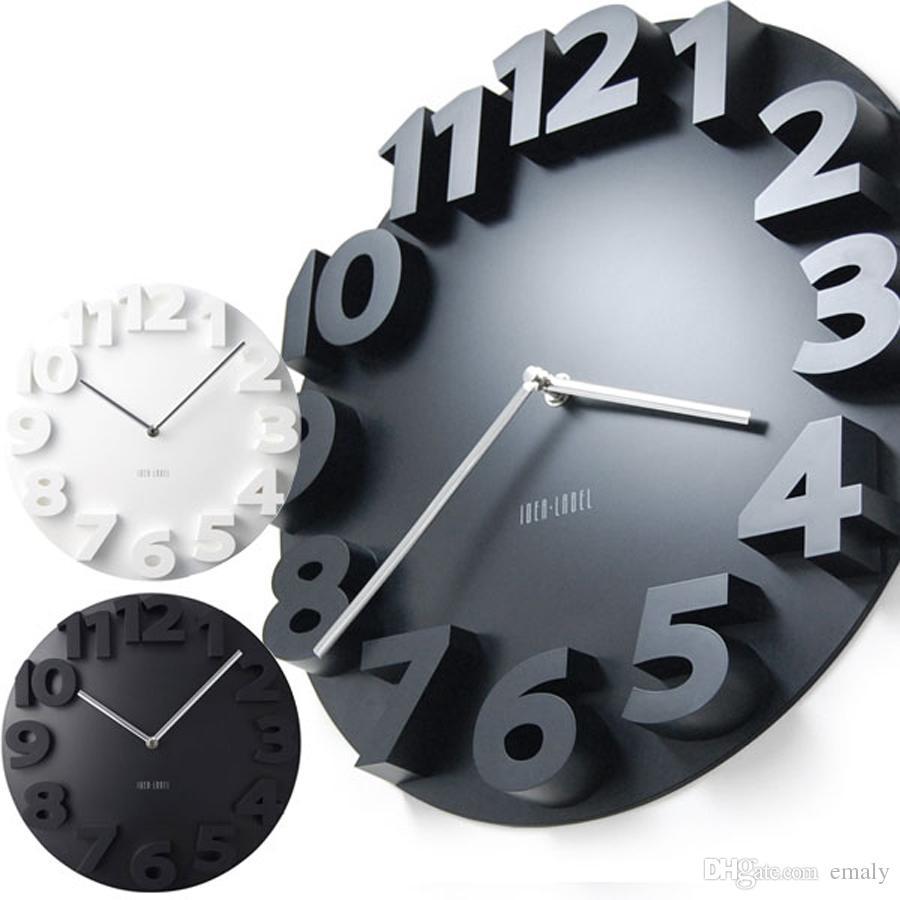 01a6f63e1b3 Compre Big 3d Rodada Relógio De Parede Digital Grande Relógio De Parede  Decorativo Design Moderno Silencioso Pendurado Na Parede Relógio Da Cozinha  ...