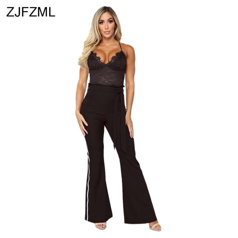 ee324e34f809 2019 Sheer Lace Patchwork Sexy Black Bodysuit Women Backless Spaghetti  Strap Wide Leg Jumpsuit Elegant V Neck Sleeveless Sash Romper From  Cutelove66