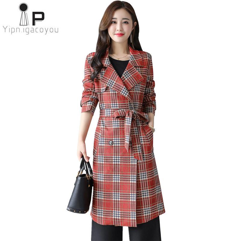 16a0cdf4d58 2019 Autumn 2018 Long Coat Women S Windbreaker Plus Size Double Breasted  Red Plaid Women Trench Coat Harajuku Befree Ladies Overcoat From Pattern68