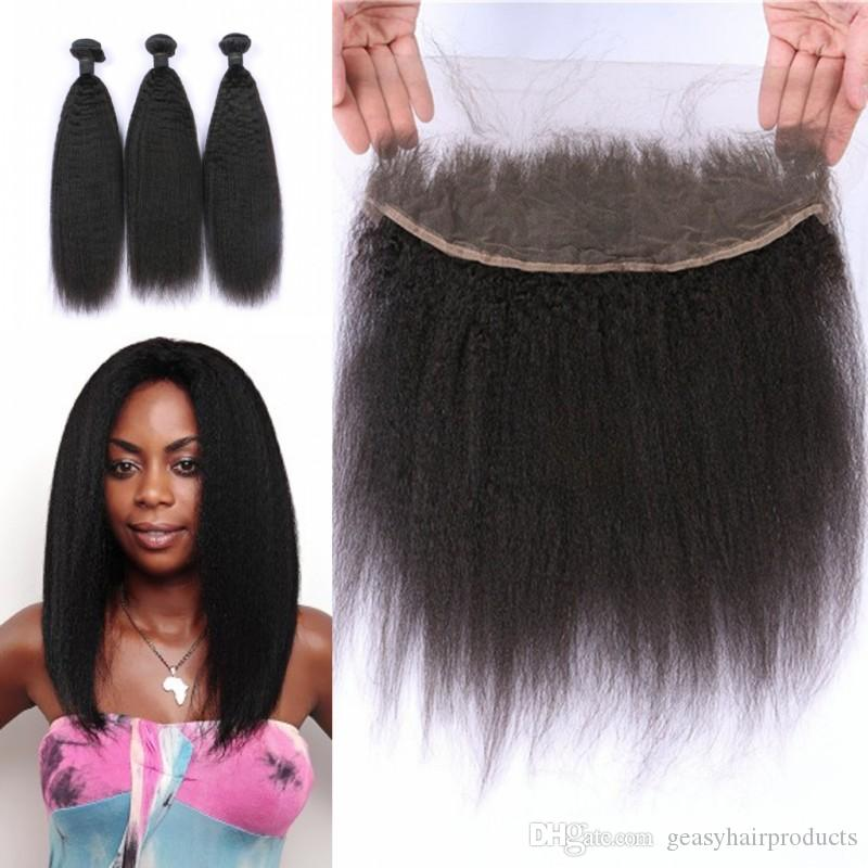 Peruvian Kinky Straight Human Hair Weaves With Lace Frontal Closure