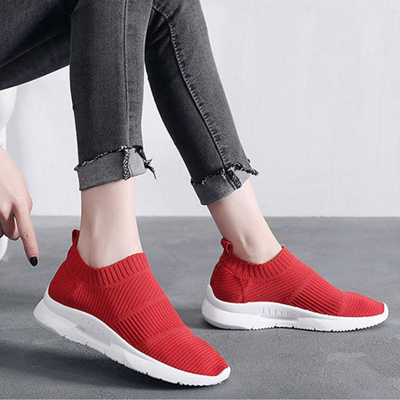Spring Sock Sneakers Women Breathable Mesh Running Shoes Women Slip On Red  Socks Sports Shoes Flats Footwear UK 2019 From Rainlnday d799ee09b