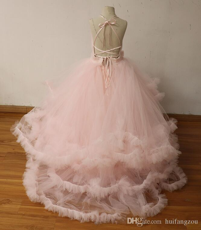 Light Pink Ball Gown Flower Girl Dresses For Wedding Tulle Tiered Ruffles Girls Pageant Gowns With Handmade Kids Prom Dress