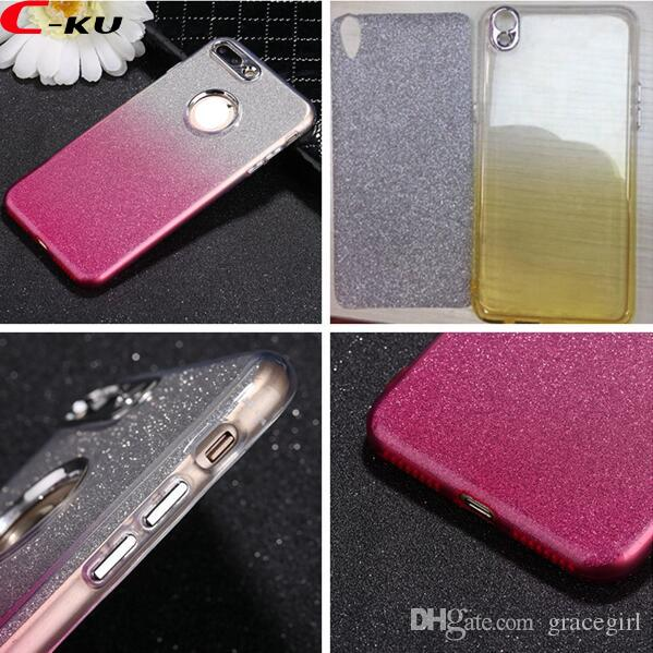 Metal Button Bling Glitter Sticker Soft TPU Case For Iphone X XS 8 7 6 6S Plus OPPO R11 R9S R9 Plus Shiny Dual Color Jelly Skin Cover Luxury