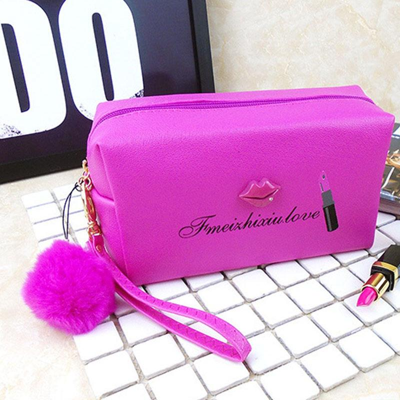 Waterproof PU women cosmetic bag retro lovely lip lipstick makeup zip pouch brushes organizer bag with pom pom