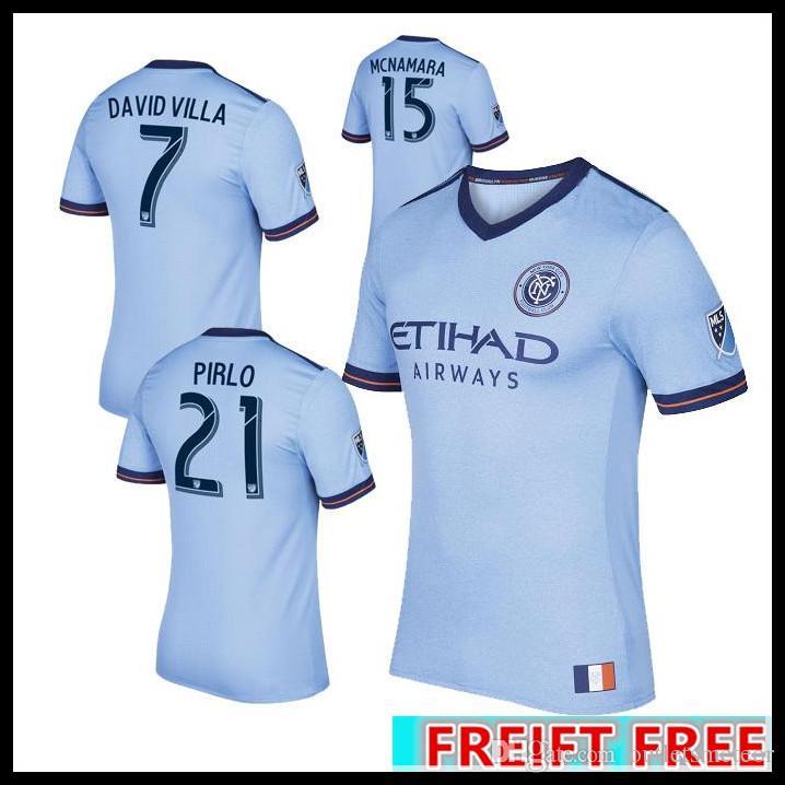 142ff5e8682 2019 2017 Fan Version New York City MLS Soccer Jersey Football Shirts 17 18  NYC Home Pirlo Camiseta De Futbol David Villa Maglie From Outletsmeteor