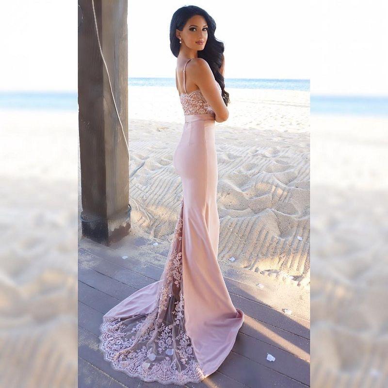Venda quente Spaghetti Correias Mermaid longos vestidos da dama querida apliques de renda Beads Prom Vestidos Vestidos