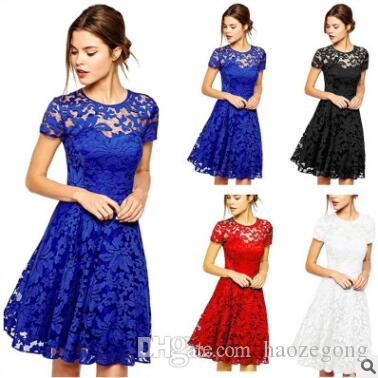 9fe47fa5b7b93 5XL Plus Size Dress Fashion Women Elegant Sweet Hallow Out Lace ...