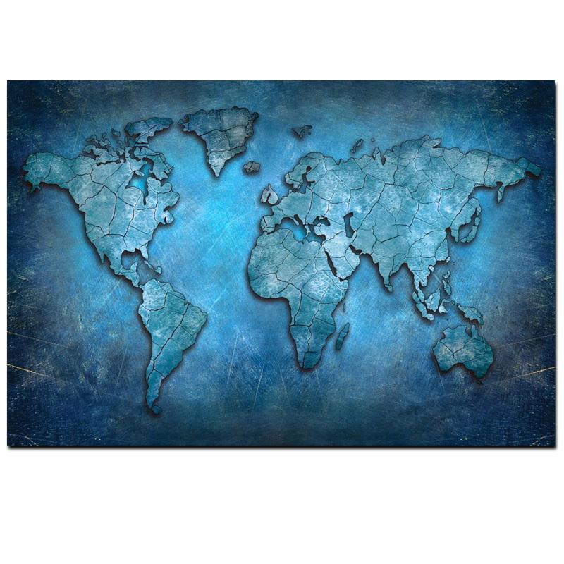 2019 Big Size Abstract 3d World Map Canvas Painting Modern Globe Map
