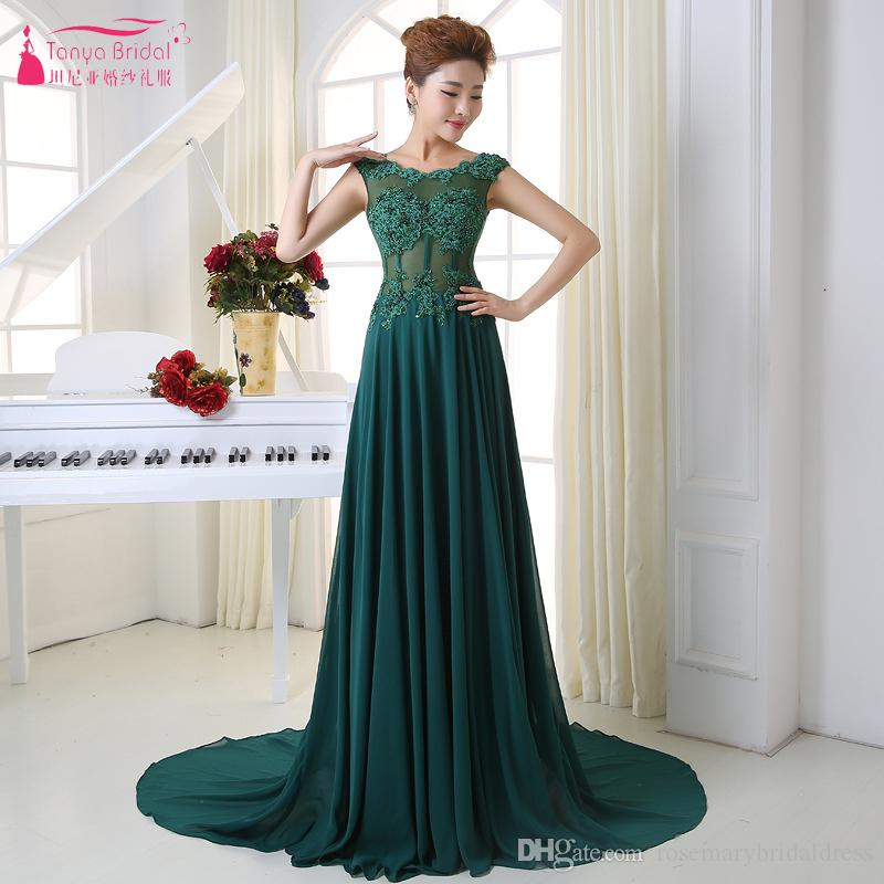 Dark Green Evening Dresses 2019 See Through Chiffon Long Prom Gowns Women  Formal Wear Open Back Vestido De Festa ZE064 Best Evening Dresses Black  Evening ... 57c7e0df678c