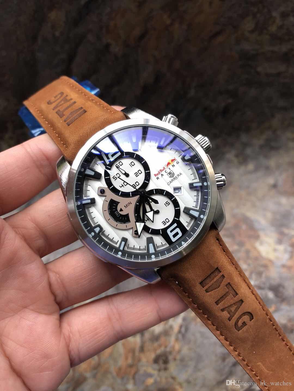 38639ef49cc2 Купить Оптом Новый Дизайнерский Швейцарский Роскошный Бренд Chronograph AAA Часы  Мужские Современные Модные Часы Кварцевые Наручные Часы Мужские Кожаные ...