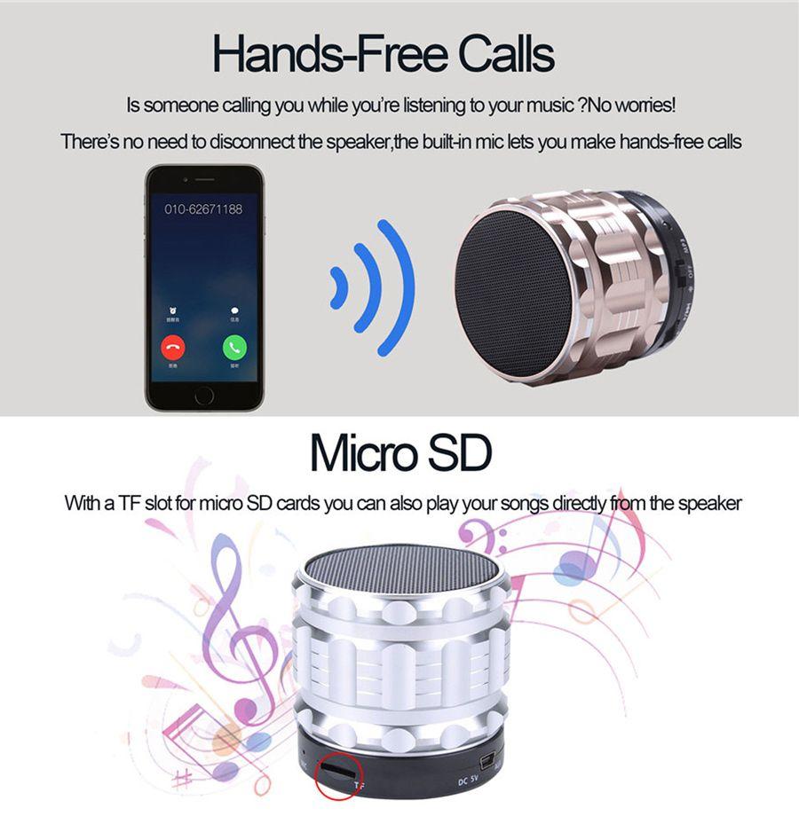 S28 Portable Bluetooth Speaker Metal Steel Wireless Handfree Mini Speakers with Mic Micro SD Slot Retail Box