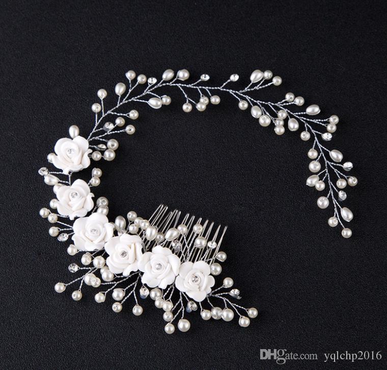 Novia, flor de perla hecha a mano, estudio fotográfico para el cabello, maquillaje de novia, accesorios de boda, diadema.