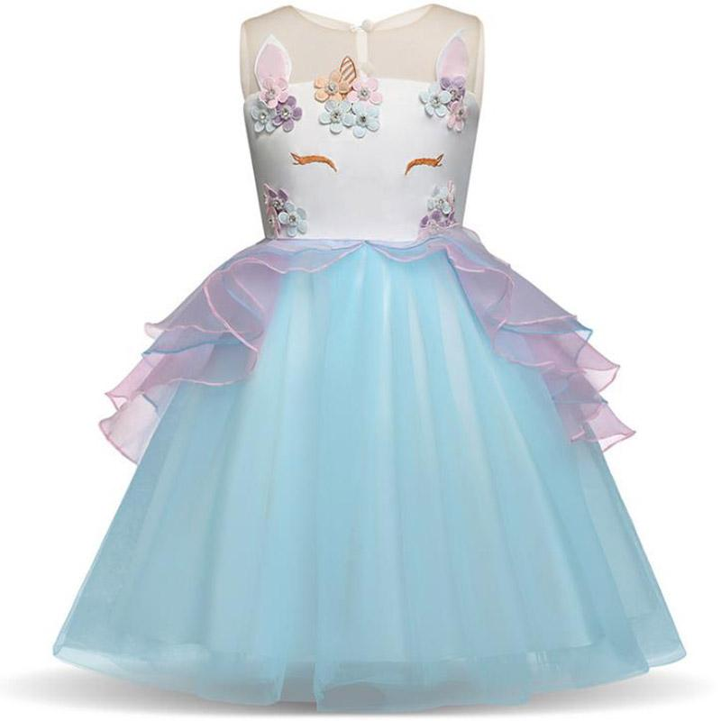 51e3ad205 2018 Niños Princesa Vestido Diseñador Verano Flor Unicornio Niño Ropa Niñas  Vestido de Novia Traje del Día de los Niños