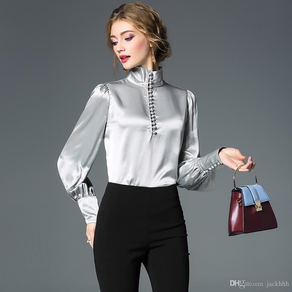 c97ba26cd2 moda 2018 plus size camicie a maniche lunghe camicie a maniche lunghe delle  donne del progettista di marca camicie colletto stand colletto argento ...