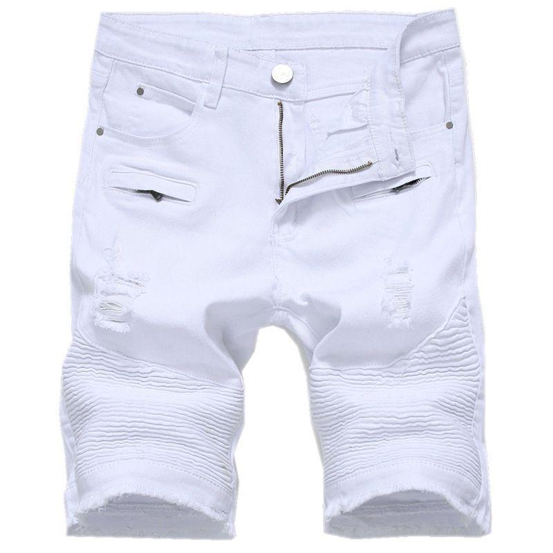 0f7f70591ea4 2019 Summer Mens Denim Shorts Slim Casual Knee Length Short Hole ...