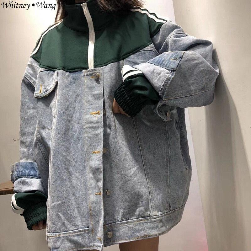 79362a350 Compre WHITNEY WANG 2018 Outono Inverno Moda Streetwear Estilo Coreano  Listrado Lado Patchwork Jeans Mulheres Casaco Jaqueta Casaco WW 2271 De  Pattern68
