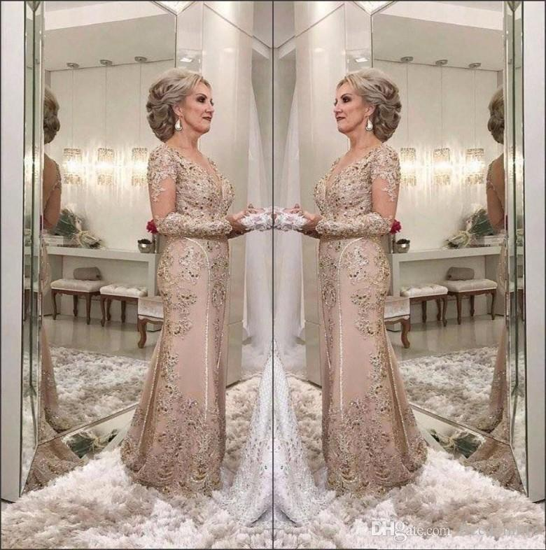7c3bccd1bc1 Modest Mother Of The Bride Dresses Sheer Neck Crystal Beaded Mermaid Lace  Applique Plus Size Evening Dress Wedding Guest Gowns Winter Mother Of The  Bride ...
